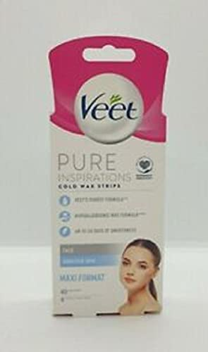 Veet Pure Face Cold Wax Strips, 40 Count