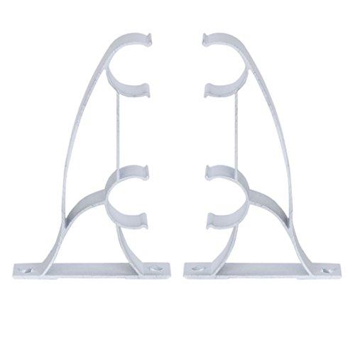 Fenteer Paire Double Support de Rringle à Rideau Mural Accessoire pour Store Voilage Maison Bureau Blanc 25mm