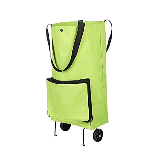 Collapsible Trolley Bags, Portable Shopping Cart with Wheels, Reusable Travel Tote Bag, for Shopping/Travel/Ourtdoor,Green,L