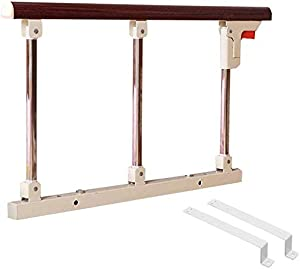 Playpens Folding Adult Home Safety Bed Rail for Elderly Handicap  Bedside Safety and Stability Assist Support Handle  Red Wood Color  Size 70cm