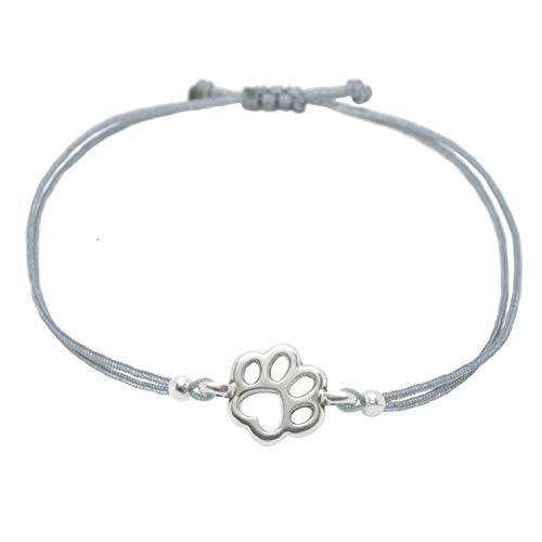 Selfmade Jewelry - Pulsera de plata con diseño de huellas de perro, hecha a mano, tamaño...