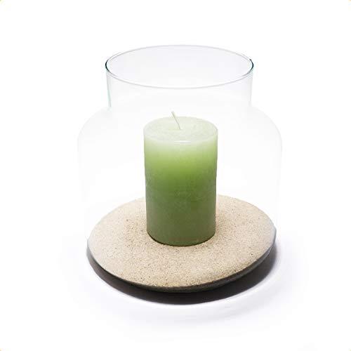 PIVELLO® Glasvase Zylinder HBT 20x19x19cm   Mundgeblasen & Handgefertigt   100% Recyceltes Glas   Als Windlicht, Blumenvase, Glasvase, Bodenvase, Dekoglas & Deko Vase   Vase Glas Bauchig   Klarglas