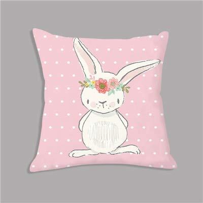 PBCX Lindo Conejo Rosa Conejito Dibujos Animados Animal Tiro Almohada cojín de Felpa nórdico sofá Decorativo decoración de habitación de niños 45x45cm como Imagen