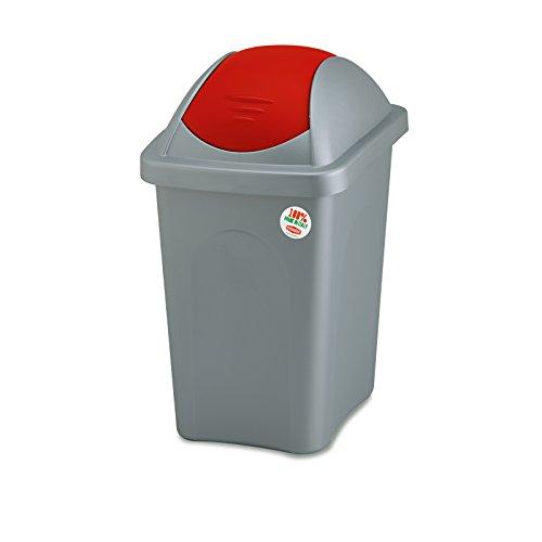 Weißer Mülleimer 30 Liter mit rotem Schwingdeckel robust und abwaschbar • Mülleimer Papierkorb Abfalleimer Abfallbehälter Mülltonne Eimer Mülltrennung, Gesamtgröße: ca. 29x39x50cm, Gewicht: ca 1kg.