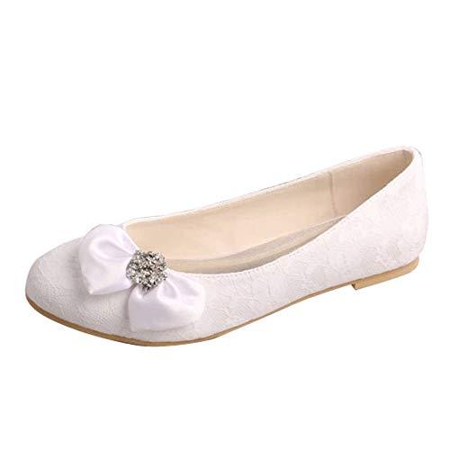 Charmstep Bailarinas De Boda Planos para Mujer Encaje Punta Redonda Lazos Zapatos de Novia MQW-864,Blanco,35 EU