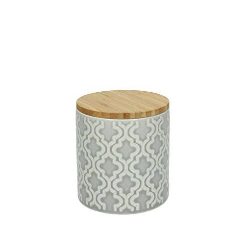 Vorratsdose KONIA, 600 ml., 11 cm hoch, Keramik, grau-weiß, wundervoll gearbeitete Struktur, mit tollem Dekor von TOGNANA