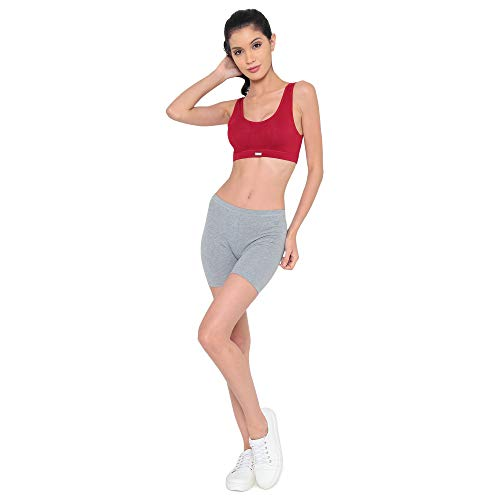 Laavian Women's Cotton Blend & Spandex Non-Wired Sports Bra (DOGI3105RED_M_Red_Medium)