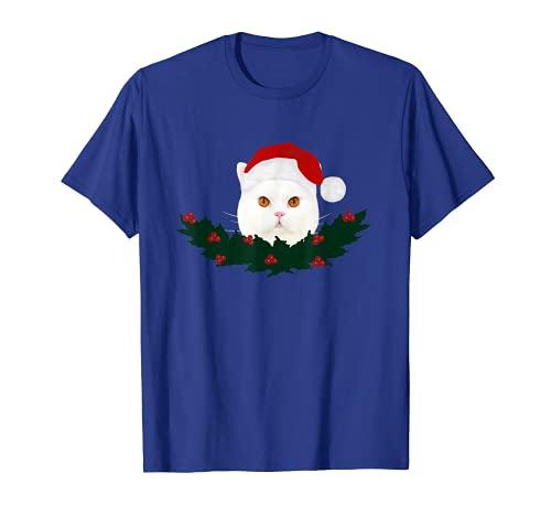 Gato de Papá Noel con gorro de Papá Noel. Camiseta