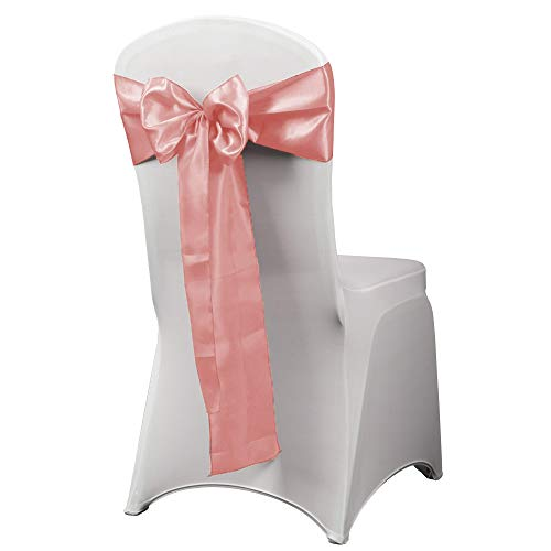HAORUI 12PCS Satin Chair Sashes Bows for Wedding Chair Decoration (Pink)