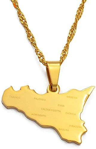 BACKZY MXJP Collar Mapa De Sicilia De Italia con Nombres De Ciudades Colgantes Collares Color Dorado Regalos De Joyería De Sicilia Italiana Collar