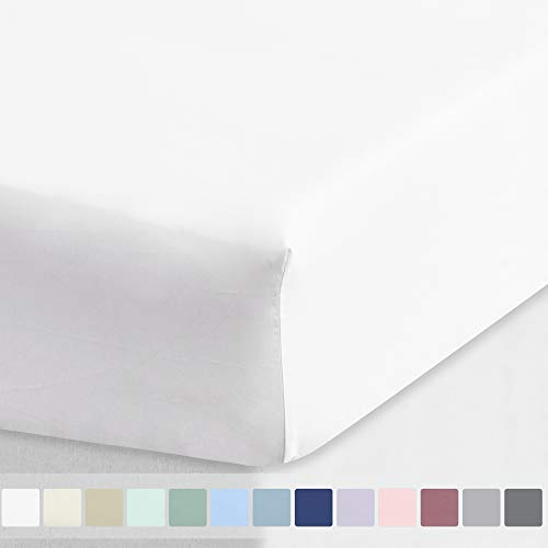 California Design Den Cotton Sheet 600 Thread Count - Pure White Queen 1 Piece Deep Pocket Soft Fitted Sheet Only, Long Staple Combed Cotton Silky Sheet for Home and Hotel
