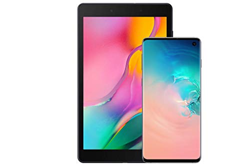 Samsung Galaxy S10Factory Unlocked Android Cell Phone, US Version, 128GBof Storage, Prism White with Tab A 8.0' 32 GB WiFi Android 9.0 Pie Tablet Black (2019)