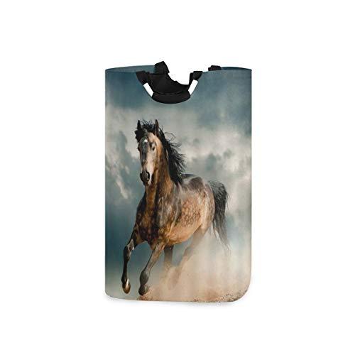 COFEIYISI Cesto para la Colada,Caballo Horse-Running Dream Blue Sky Diseño Animal,Plegable Cestas...