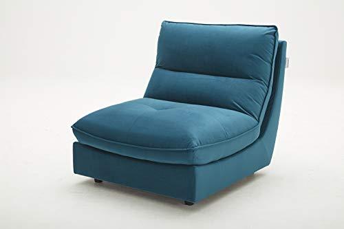 Meubletmoi Chauffeuse Bleu pour canapé modulable - Design Contemporain - Tissu Velours Doux - Ultra Confortable Moelleux - Kaya