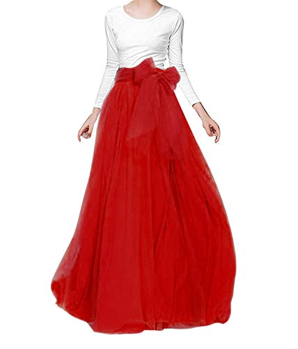 songshenjian Women Tulle Skirt Bridal Bridesmaids Maxi Skirt with Belt for Wedding Evening Red