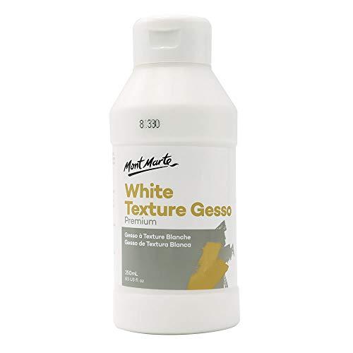 Mont Marte Premium White Texture Gesso 8.45oz (250ml), Suitable for Acrylic Paint, Oil Paint, Color Pencils, Pastels, Graphite and Charcoal