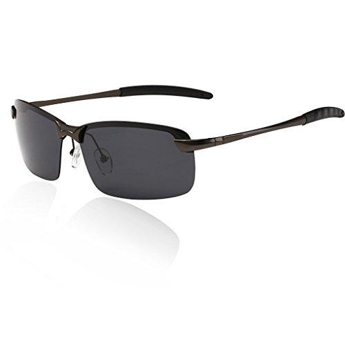 QHGstore Para hombre de gafas de sol polarizadas al aire libre Deportes de Manejo de Eyewear de la lente Gris / Negro