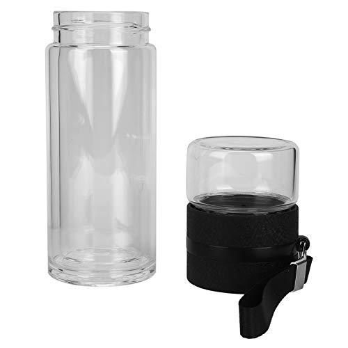 Changor Botella de Doble Pared, con Botella de separación de té plástica de Grado alimenticio de 500 ml de Vidrio