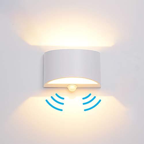 Lámpara de pared LED con detector de movimiento, 7 W, lámpara de pared LED, sensor moderno, de aluminio, iluminación interior, para pasillo, camino, porche, salón, comedor, aluminio, blanco cálido, 7W