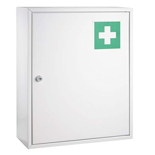 Erste Hilfe Verbandsschrank weiß lackiert DR-Büro 1790 - Zwei Einlegeböden - Maße (B/T/H) 36x15x45 cm - inkl. Befestigungsmaterial - abschließbar