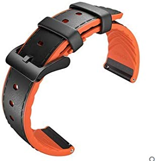Ticwatch Pro Leather Watch Band Accessory Watch Strap for Ticwatch pro Stylish 22mm (Black-Orange)