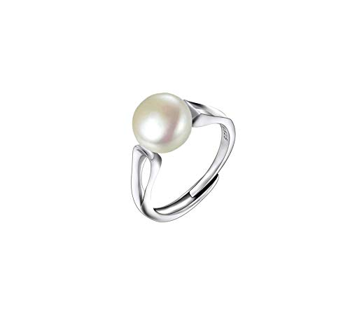 Anillo con Perla cultivada de Agua Dulce Plata de Ley 925 para Mujer Perla Grande Natural Blanca de 9-10mm Anillo Ajustable