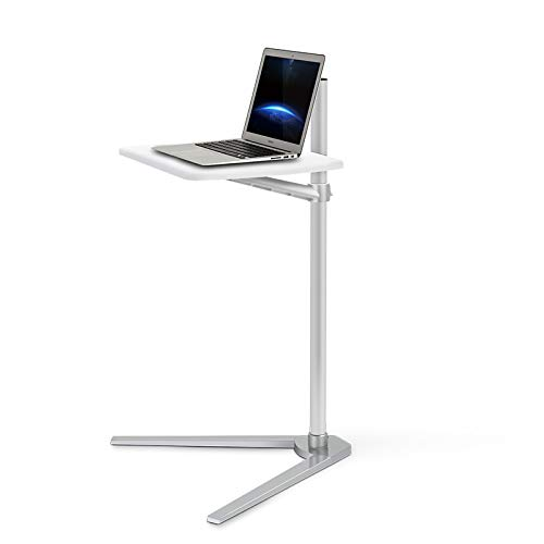 Thingy Club Overbed Table Stand, Height Adjustable Tray Side Table for Bed or Sofa Laptop Desk (Silver- White Board)