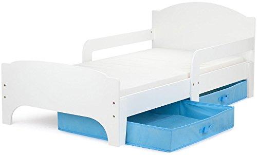 Moderne Smart Lit d'Enfant Toddler 140x70 Couleur Blanche Confortable Fonctionnel Lit Simple Avec Un Tiroir Lit Pour Enfant Avec Rangement et Matelas Grand Tiroir En Textile 2 Pièces