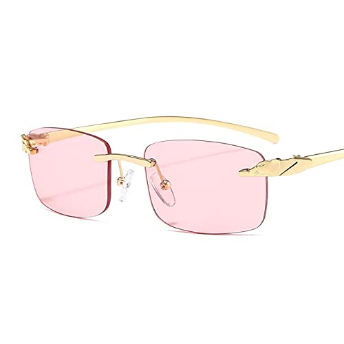 ShSnnwrl Gafas Sol De Hombre Mujer Polarizadas Sunglasses Gafas De Sol Rectangulares Sin Marco De Cheetah Únicas Retro para Mujer Gafas De