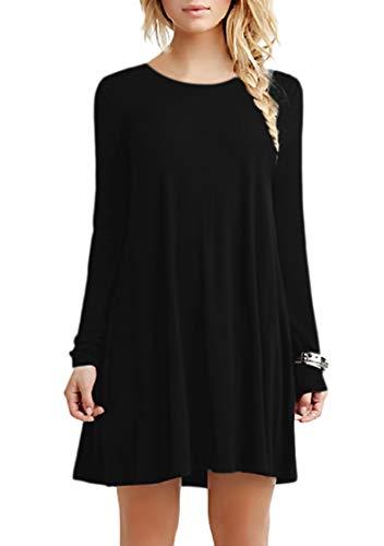 TYQQU Damen Legeres Kleid Minikleid Langärmliges Rundhals Kleid Lockeres Kleid Baumwollkleid Schwarz XL