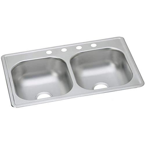Elkay DSE233194 Dayton Elite 20 Gauge Stainless Steel Double Bowl Top Mount Kitchen Sink, 33 x 19 x 8' (Renewed)