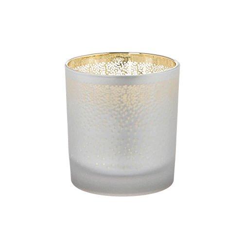 Riverdale Windlicht aus Glas seidenmatt mit Punkten - Schneeflocken gold/weiß 8 cm Schneeflocken Teelichtglas Weihnachtsidee Geschenkidee Weihnachtsdeko Wichtelgeschenk Advent Weihnachtsgeschenk