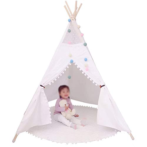 ZXGQF Play Tepee Tent, House Cotton Canvas Children's Tent Playhouse, Patchwork Teepee, for Girls/Boys Indoor and Outdoor (F,160cm)