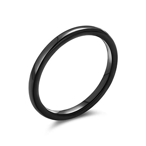 Thin Stackable Minimalist Simple Dome Black Couples Titanium Wedding Band Ring for Men for Women Comfort Fit 2MM