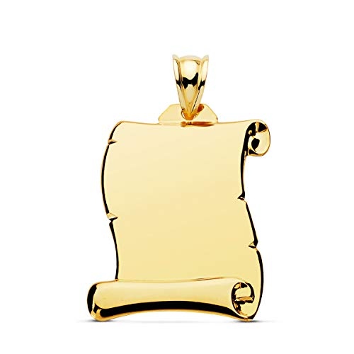 Colgante Pergamino liso Oro Amarillo 18 Kilates 26mm Joya personalizada