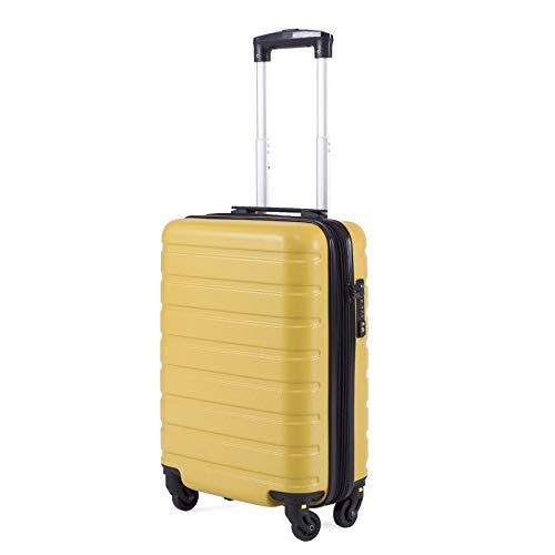 Toctoto Bagaglio a Mano Espandibile con Lucchetto TSA (18' 38LT 52x33x20cm), Adatto Per Voli Low Cost Bagaglio Da Cabina Ryanair, Vueling, Wizz Air (18'(52cm-38L)-Giallo)