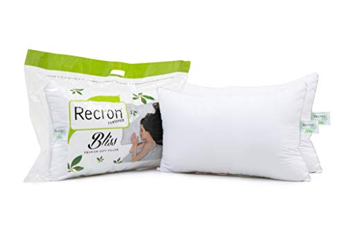 Recron Certified Fibre Bliss Pillow - 17'x27, Twin Pack, White