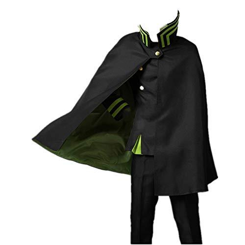 ULLAA 8PCS Seraph of The End Yuichiro Hyakuya Traje de Disfraz de Cosplay Trajes de Uniforme Negro con Peluca SombreroAccesorios de Capa Ropa de Carnaval de Halloween