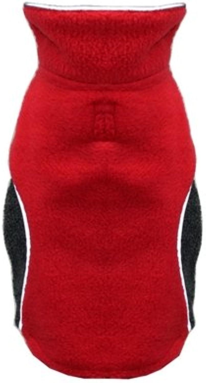 Hip Doggie HD5PFWRS Reversible Polar Fleece Wrap Coat, Red, Size S