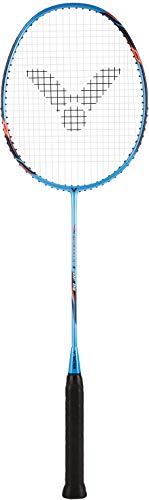 VICTOR Badmintonschläger Hypernano HX-DF09 Metallic-Blau + inklusive Schutzhülle & Profi Besaitung