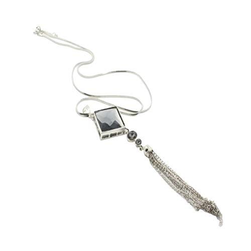 Harilla Collares Largos para Mujer Collar Llamativo con Borla Geométrica De Cristal De Mujer - Plata, Tal como se Describe