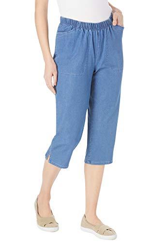 Woman Within Women's Plus Size Capri Fineline Jean - 18 W, Light Stonewash Blue