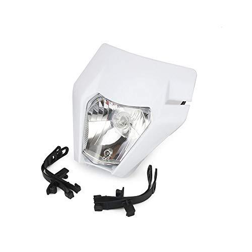 Universel Modifiés Phare Lampe Frontale avec Kits de Montage pour KTM Dirtbike Dirt Bike Anti Vibrations en Caoutchouc Bandes fourchettes de Moto avec 2 Sangles en Caoutchouc S2 12V 35W