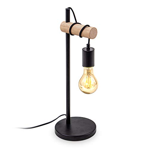 B.K.Licht lampe de table, design rétro industriel, bois & métal, éclairage salon & chambre, lampe de chevet, douille E27, pour ampoule LED 10W max, noir