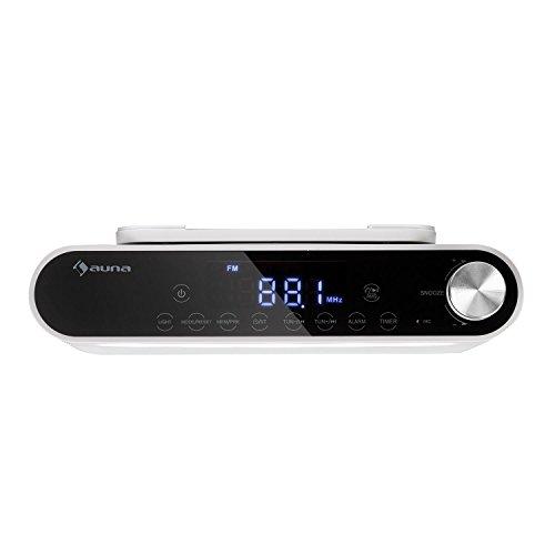 auna KR-130 Radio de Cocina Bluetooth - Instalación bajo Mueble, Función Manos Libres, Radio FM, 40 emisoras, Alarma Dual programable, Autoapagado, Altavoces estéreo, Control táctil, Blanco