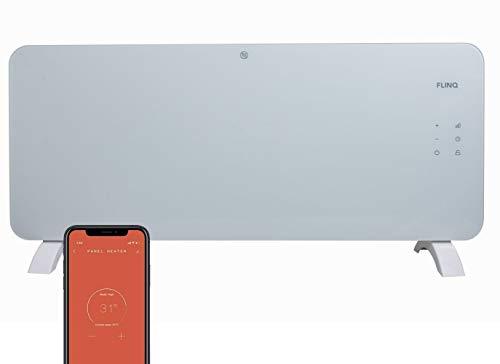 FlinQ Smart Elektrische Heizung 2000w - Glas Design Konvektor Heizung Wandmontage und Bodenständig mit Timer - Sprach- und App-steuerung Über Wifi und 4G / 5G - Google Assistent und Alexa Kompatibel