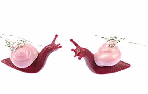 Miniblings Schnecke Ohrringe Schnecken Weinbergschnecke Salat pink - Handmade Modeschmuck I Ohrhänger Ohrschmuck versilbert