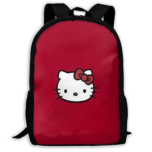 Rojo Hello Kitty (3) Bolsas de escuela Mochila de senderismo Mochila escolar Mujeres Hombres