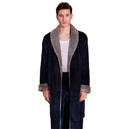 SGSG Bata de Hombre, Albornoces para Hombre Batas largas Camisones Retro de Lujo Franela Suave Invierno Cálido Ligero Albornoz para Hombre Bata de baño Pijamas Parejas Ropa de Dormir