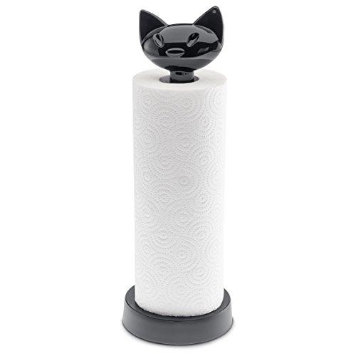 koziol porte-rouleau essuie-tout Miaou, thermoplastique, noir, 12,8 x 12,8 x 36,9 cm